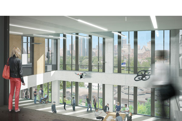 A rendering of the new Institute for Robotics and Mechatronics lab in the forthcoming Centre for Engineering Innovation & Entrepreneurship. (Image: Montgomery Sisam Architects Inc. and Feilden Clegg Bradley Studios)