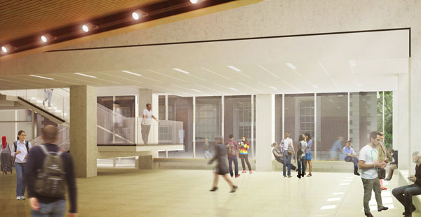 The foyer is sure to spark many unexpected collaborations. (Image courtesy Montgomery Sisam Architects & Feilden Clegg Bradley Studios)