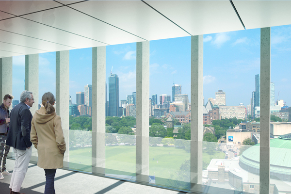 A new perspective on Front Campus and the city of Toronto is possible from the Dr. Woo Hon Fai Terrace. (Image courtesy Montgomery Sisam Architects & Feilden Clegg Bradley Studios)