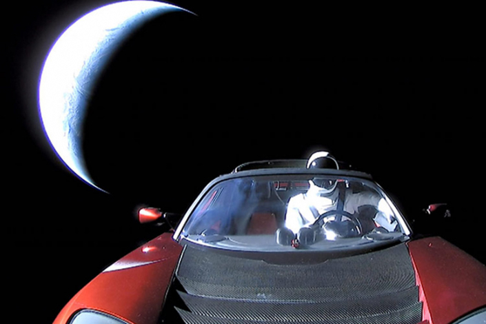 SpaceX CEO Elon Musk's Tesla roadster after being launched into orbit