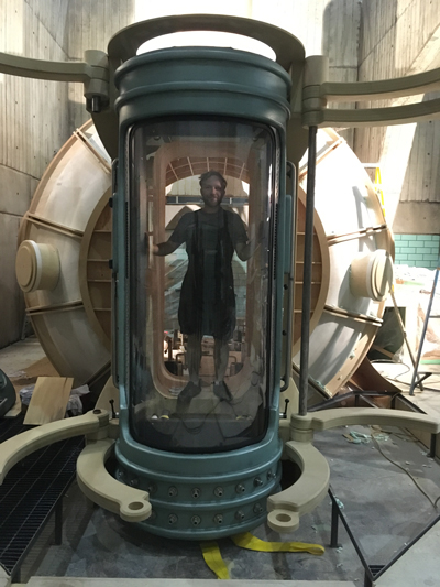 Charlie Katrycz inside the tank he helped build for the Oscar-winning film The Shape of Water. Use the slider at the top of this article to see more photos from its construction. (Photo courtesy Charlie Katrycz)