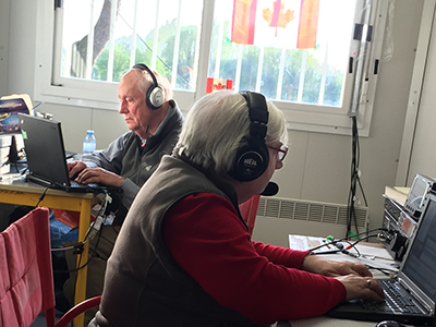 U of T Engineering alumnus Donald Studney, at left, operates the radio station from the shack at Vimy Ridge in April 2017. (Courtesy: Donald Studney).