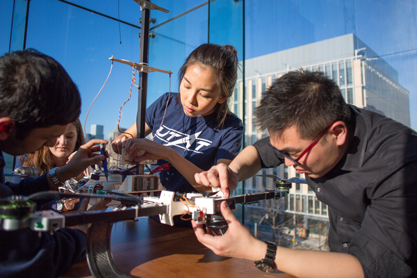 Members of the University of Toronto Aerospace Team (UTAT) work on a drone. UTAT is one of many student clubs and design teams that will have dedicated space in the Myhal Centre. (Photo: Roberta Baker)