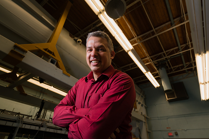 Professor Philippe Lavoie (UTIAS) will be one of two U of T researchers working with Bombardier to reduce aircraft noise. (Credit: Neil Ta).
