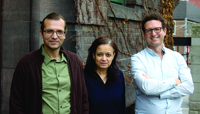 From left: The U of T Engineering research team of Dr. Tarek Awad, Dr. Dalal Asker and Professor Ben Hatton. (Credit: Liz Do)