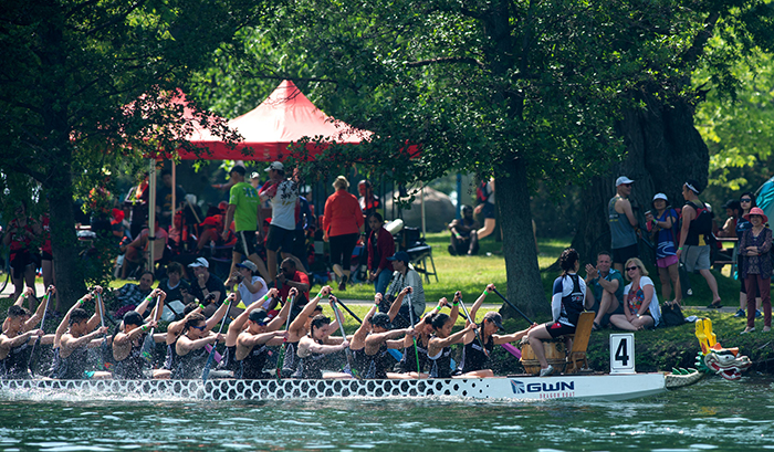 Iron Dragons Blue dragon boat team paddles past the crowd after competing in University A Division 200M Championship during the Toronto International Dragon Boat Festival held at Toronto Islands in Toronto, ON on June 21, 2018. The Iron Dragons Blue boat won first place in the championship. (Credit: Laura Pedersen)