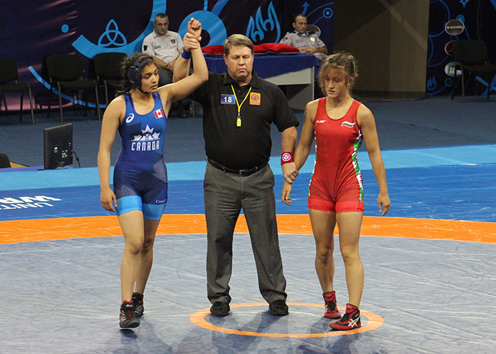 Kirti Saxena winning her bronze medal match qualifier 10-0 in Tbilisi, Georgia at the Cadet World Championships against Bulgaria. (Courtesy of Kirti Saxena)