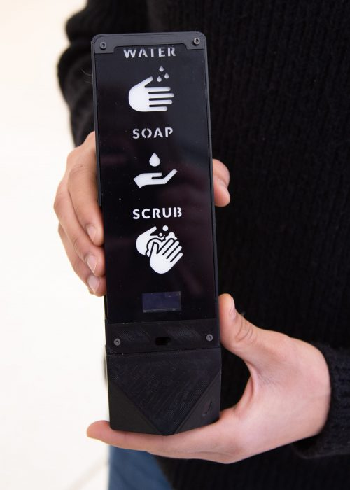 The Fian Bar uses interactive prompts and instant feedback to guide users through the handwashing process, increase washing duration and compliance. (Photo: Erin Howe)
