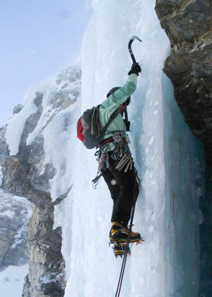 Professor Jane Howe ice climbing in the Ghost River Wilderness Area, near Banff, Alta. (Photo courtesy Jane Howe)